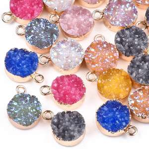 PandaHall Mixed Color Light Gold Electroplate Druzy Resin Pendants