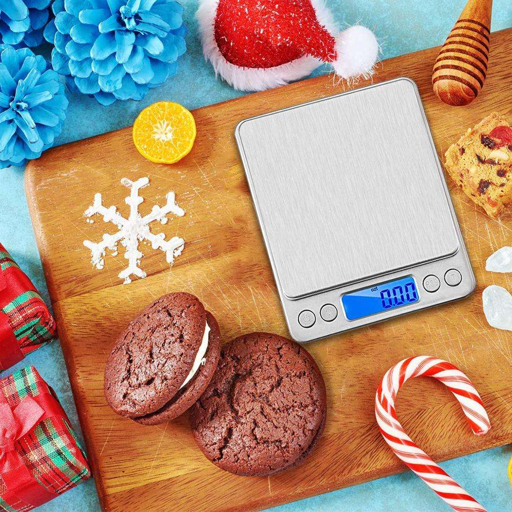 Upgraded Digital Kitchen Scale, 500g-0.01g Mini Pocket Cooking Food Weighing Machine, Back-Lit LCD Display, 2 Trays, 6 Units