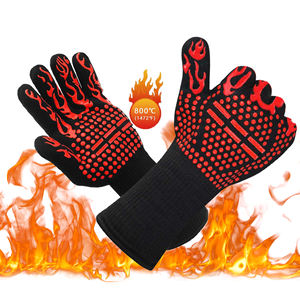 low moq 1472F degree flame heat retardant gloves silicone baking cooking gloves silicone Non-Slip Oven Mitts for welding