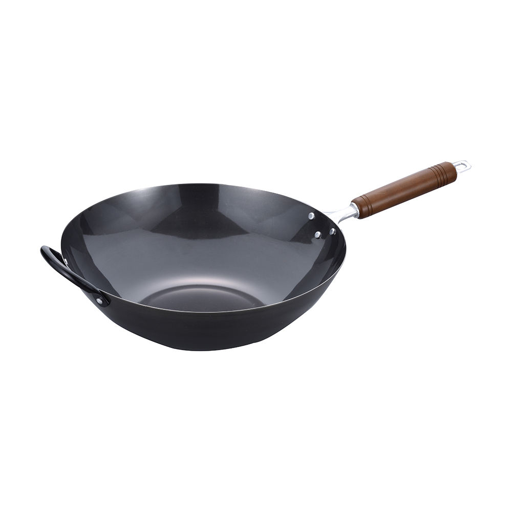 Japan hot sale IH and gas available natural wood handle cookware fry pan pot cast iron