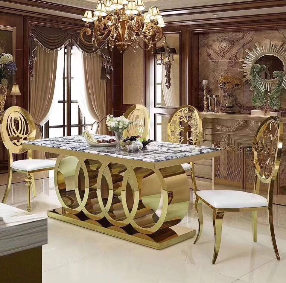 Morden Luxury design marble top dining 6 chairs table set dining room furniture table and chairs for dining room