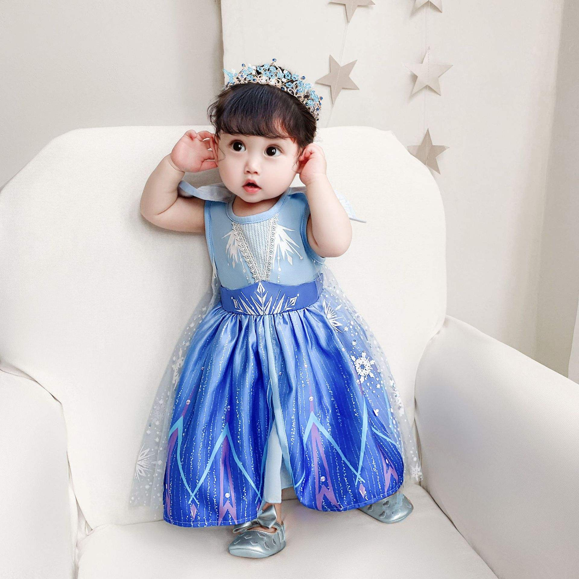 2020 Infant Cosplay Costume Elsa 2 Newborn Baby Girl Holiday Performance Dress BX1730