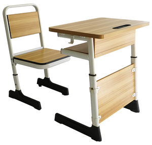 Strong wood laminate school furniture single student desk with chair (SF-11S)