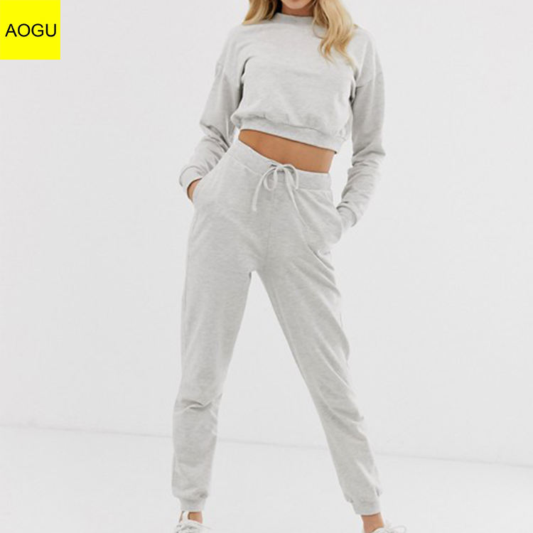 High Quality Cropped Sweat And Slim Jogger Tracksuit 2 Piece Set Woman