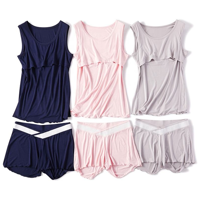 High Quality Soft Cotton Modal Maternity Nursing Camisole and Shorts Pajamas Set for Pregnant Women