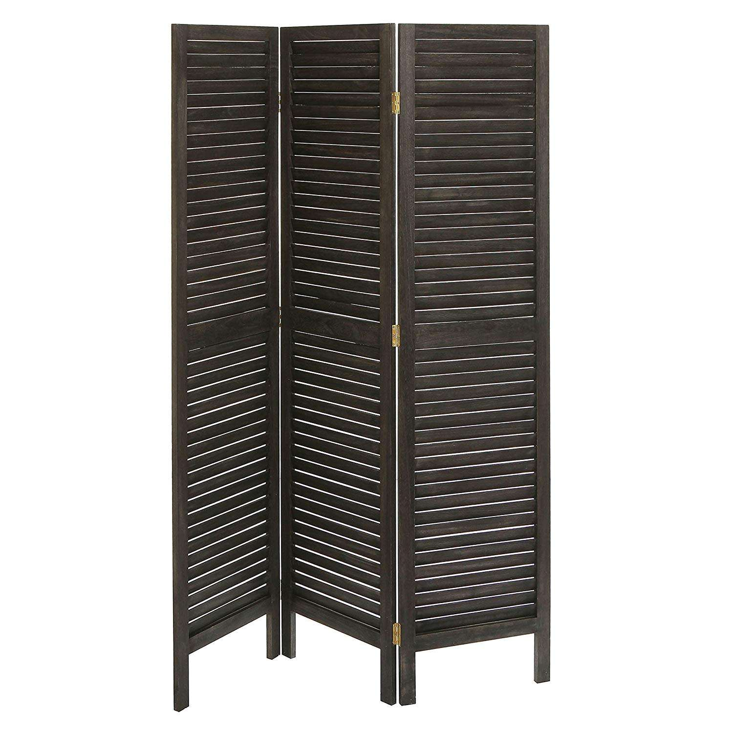 Dark Wood Louvered Panels Bamboo Fitting Room Divider Folding Screen