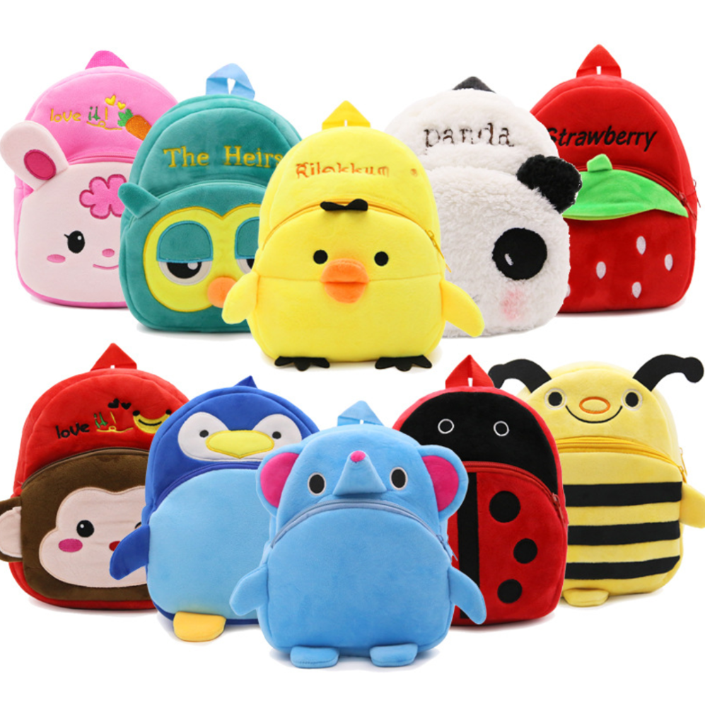 China Factory Mini Custom Cute Plush Custom Logo Animals Kids Backpack School Bag