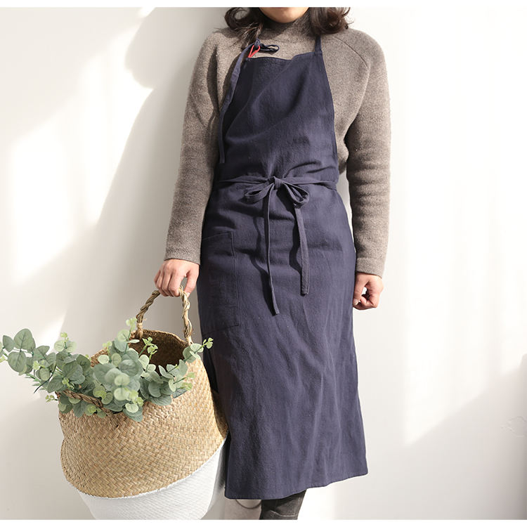 High Quality Large Long Linen baker apron cheap wholesale Cooking cotton kitchen Japanese Chef Fabric Sleeveless Apron
