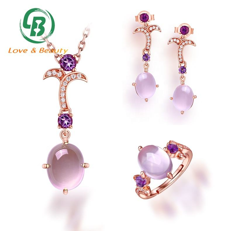 Amethyst Pendant Sets Wholesale Jewelry Rose Gold Gems Fashion Jewelry Sets