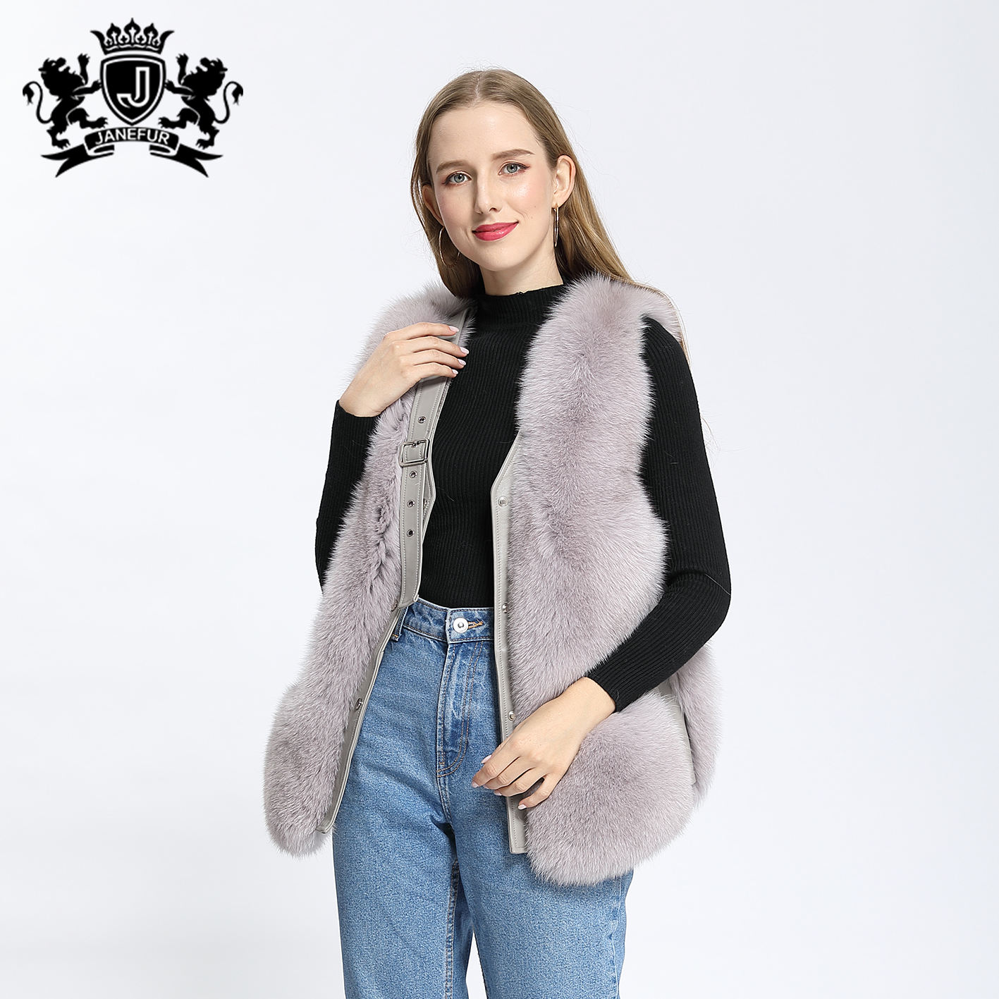 Janefur Real Fur Vest Ladies Real Fox Women High Quality Sleeveless Leather Jacket Female Waistcoat