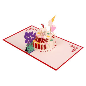 WINPSHENG Crafted Laser Cut Cake Gift 3D Pop Up Cards Birthday