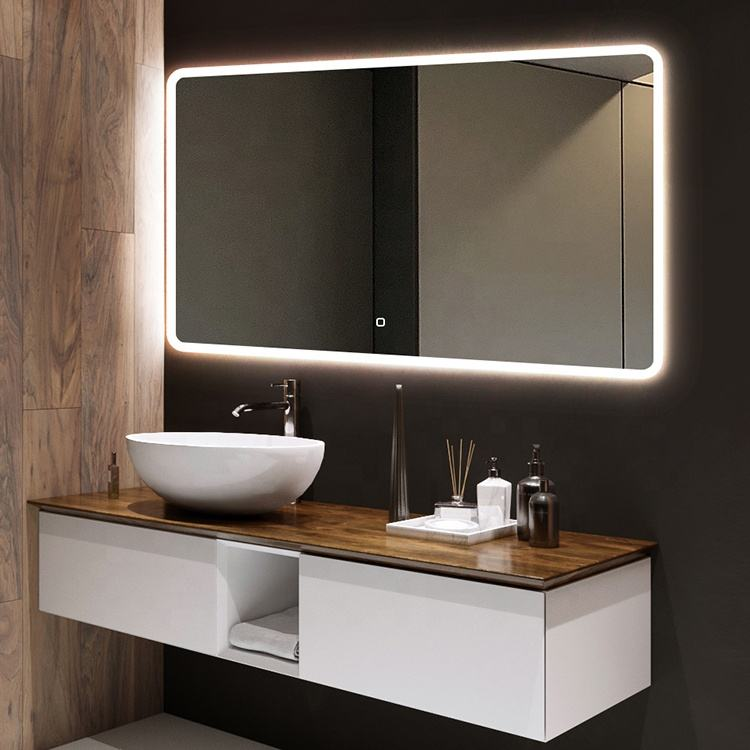 Custom Modern Bathroom Wall Mounted illuminated Smart Led Mirror With Time Display