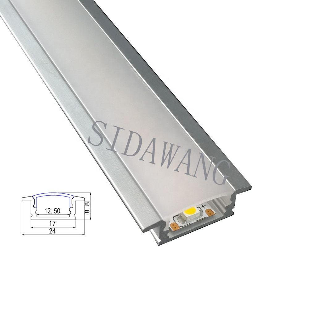 Aluminum LED Profile with PC diffuser for Recessed/Surface Mounting,Compatible with Strip Width within 12mm