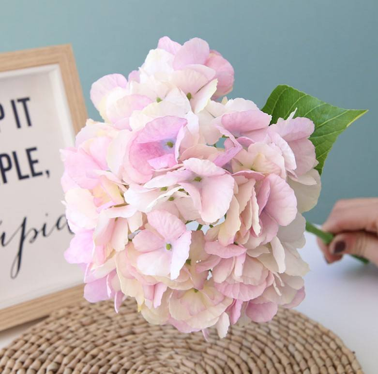 Colorful Silk Artificial Flowers Plastic Hydrangea Flowers for Wedding