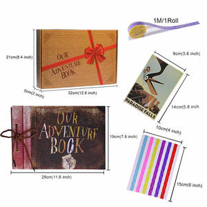 Vlovelife 1pcs New 80 Pages Photo Album Scrapbook Colorful Kraft Paper Cover Adventure Book Photobook DIY Album With Gift Box
