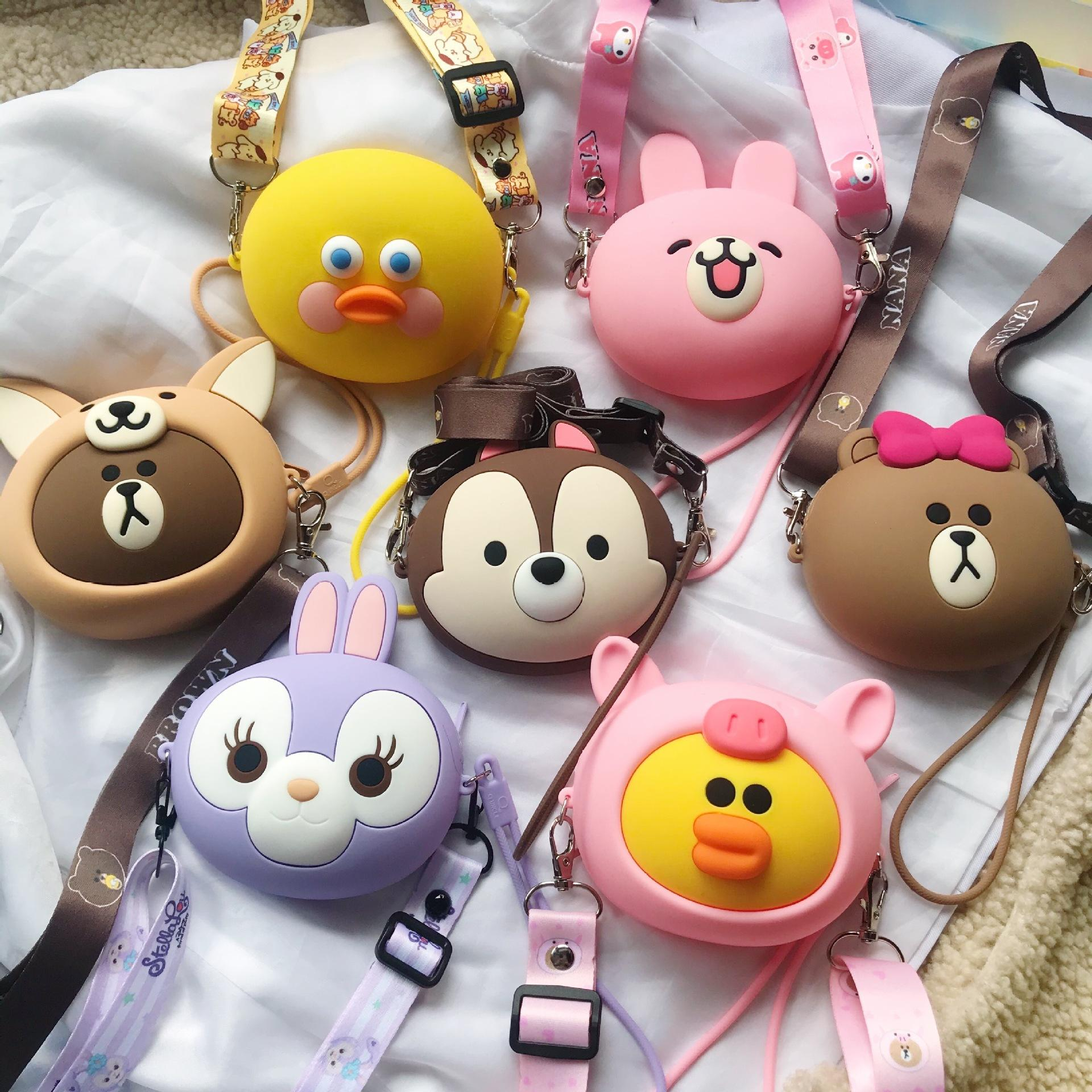 lovely silicone hand rope wallet cute girls neoprene mini crossbody monedero mujer de silicona cartoon small rubber coin purses