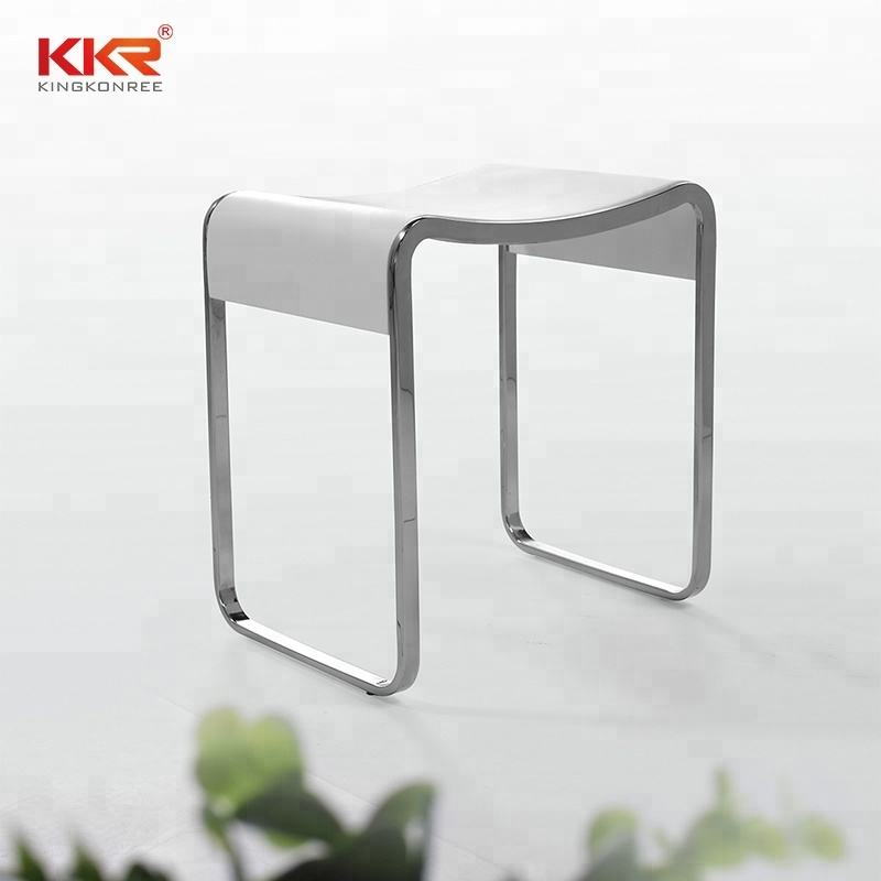 Rectangular Shower Seat Artificial Stone Bathroom Chairs Acrylic Solid Surface Shower Stool