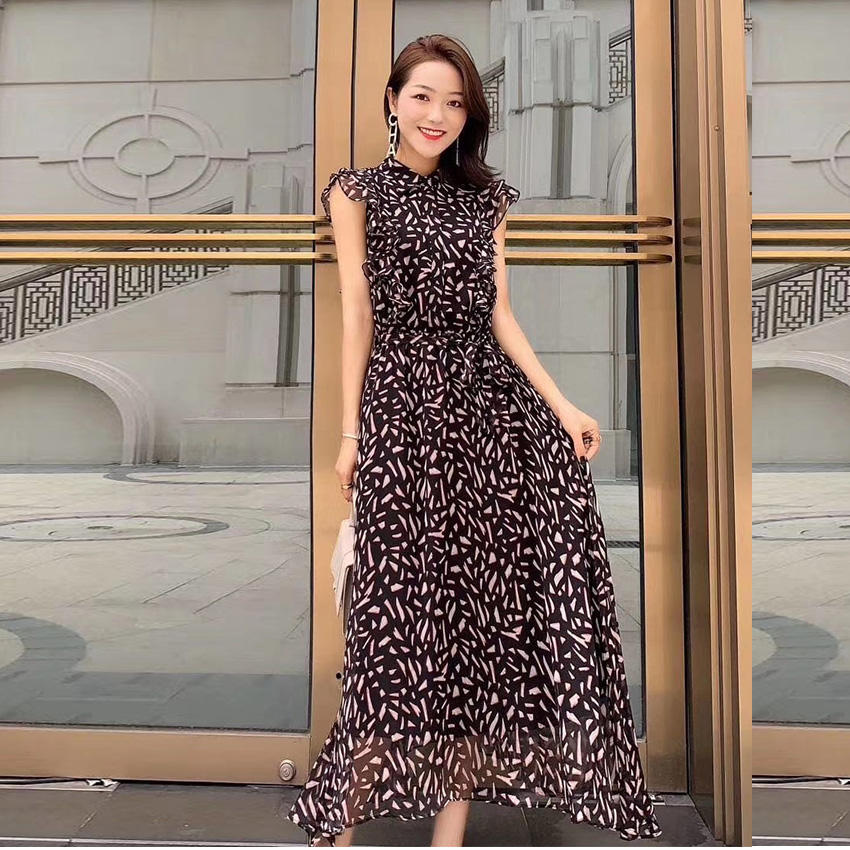 Wholesale 2020 Best Selling Elegant Fashion Clothing Latest Design Women Floral Korean Summer Chiffon Dress