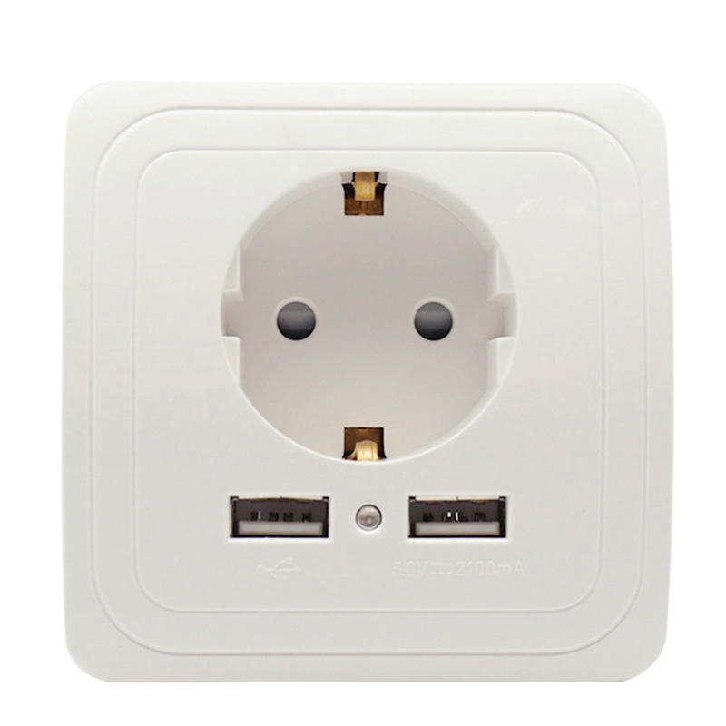 Eu Plug Socket Dual Usb-poort Socket Wall Charger Adapter Opladen 2A Wall Charger Adapter Stopcontact