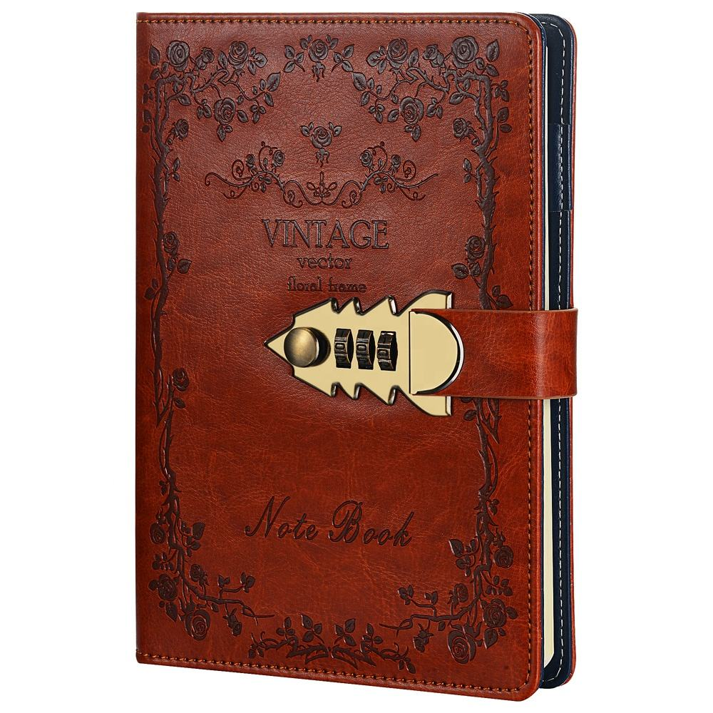 PU color leather vintage diary notebook with lock diary with code lock notebook with key lock