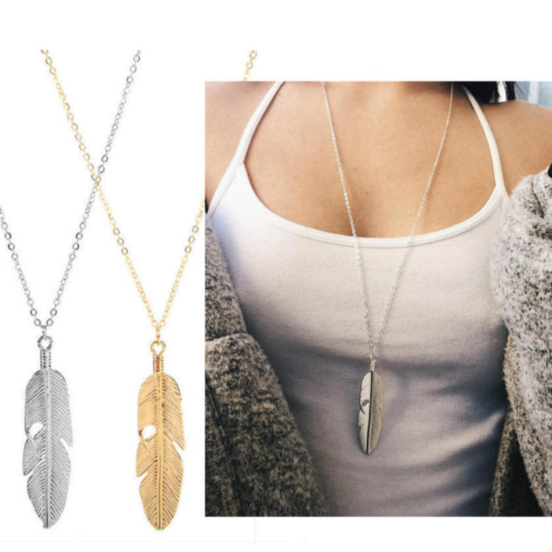 Tassel Pendant Feather Necklace Long Sweater Chain Statement Jewelry Plated Gold Silver Leaf Choker Necklaces For Women