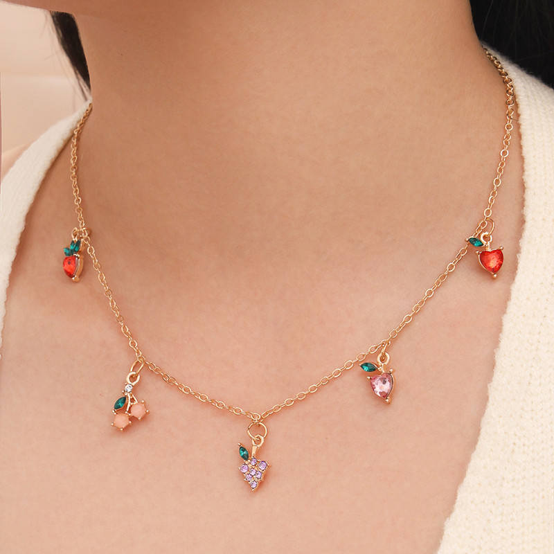 Ins fashion gold plated choker simple cute women fruit peach strawberry cherry pendent necklace jewelry