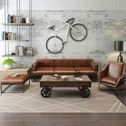Industrial & vintage solid wood & genuine leather three seater sofa with wheels