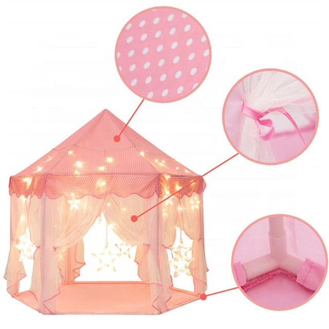 Spelen Tent Met Led Star String Lights Decor, populaire Hexagon Kids Play Tent Indoor Grote <span class=keywords><strong>Prinses</strong></span> Kasteel Speel Tent Meisje <span class=keywords><strong>Huis</strong></span>