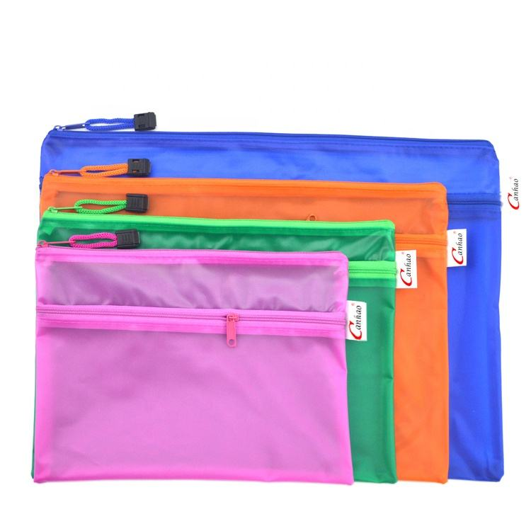 Custom PVC office file A5 waterproof OEM double zipper document bag