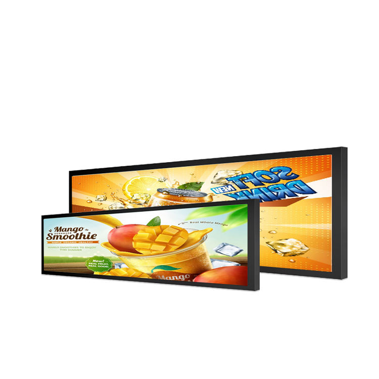 Supermarket Shelf Edge Display Large Format Screen Full Hd Lcd Advertising Player Stretched Bar Black and White