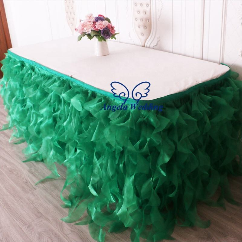 SK010C Christmas custom made 8ft, 13ft ,14ft, 17ft or 21ft organza emerald green curly willow table skirt