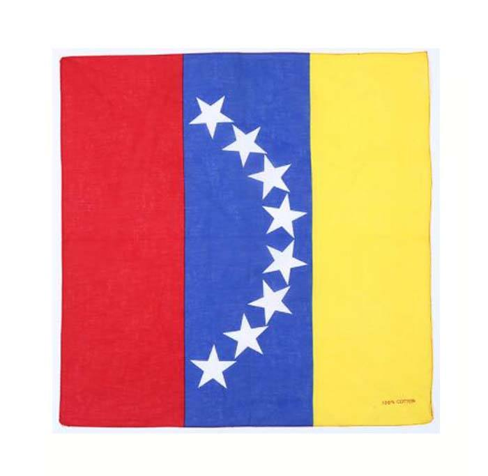 Promotional cheap price bulk bandana 100% silk screen printing national flag bandana headwear
