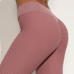 Women's knitted peach buttock jacquard leggings sports gym pants hygroscopic sweat honeycomb yoga pants women