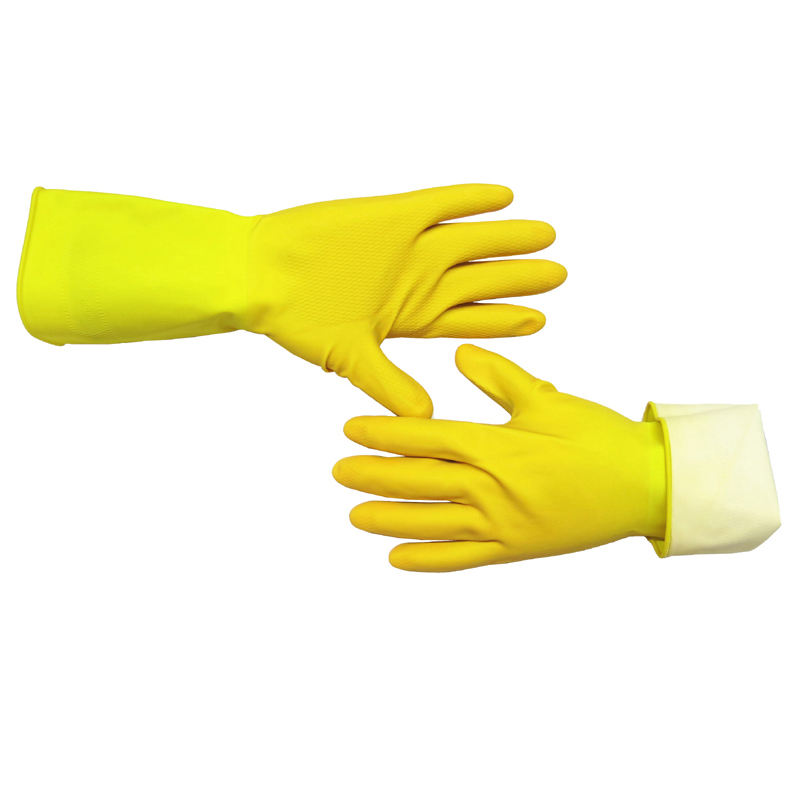 Diamond grip household long hand gloves latex for kitchen dish cleaning