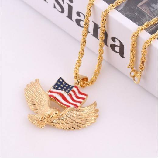 American Flag Eagle Necklace Statement Jewelry Gold Silver Stainless Steel Hawk Animal Charm Pendant & Chain For Men