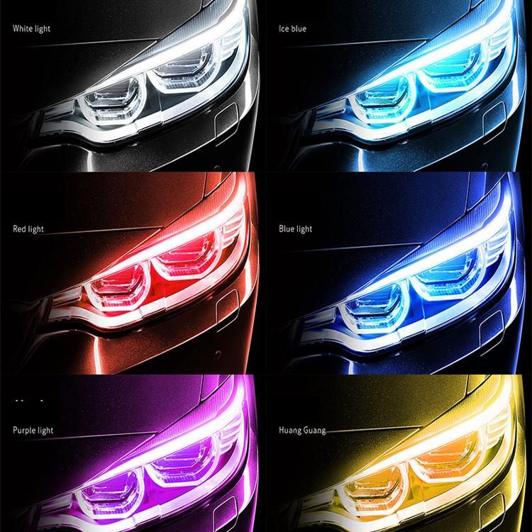 2020 New Factory Directly Day Time Running Led Lights Strip Dual Color Car DRL Led Lights Strip for Car with Turn signal