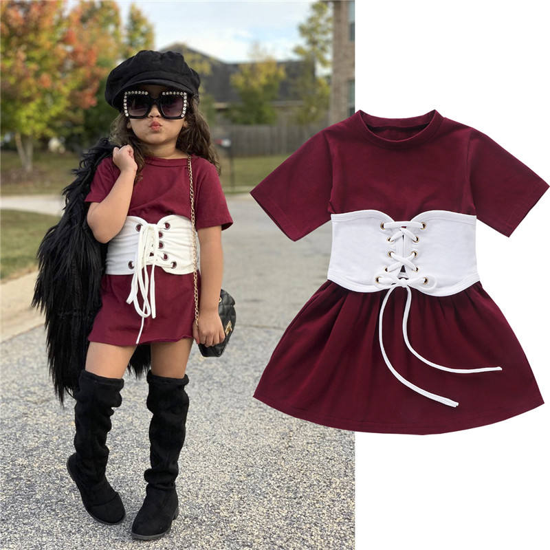 Fashion Girls Sport Dress For Girls O-neck Kids Dress With Bandage Belt Children Summer Holiday Casual Costume For Girls