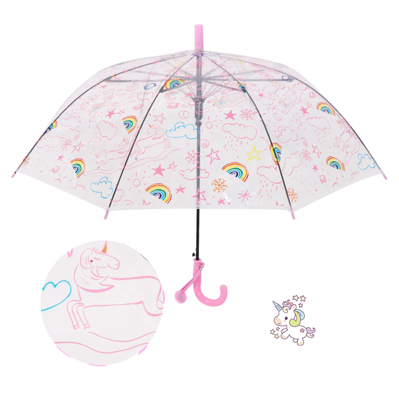 Happy Swan 2020 clear lovely kid clear plastic POE rainbow kid umbrella with prints