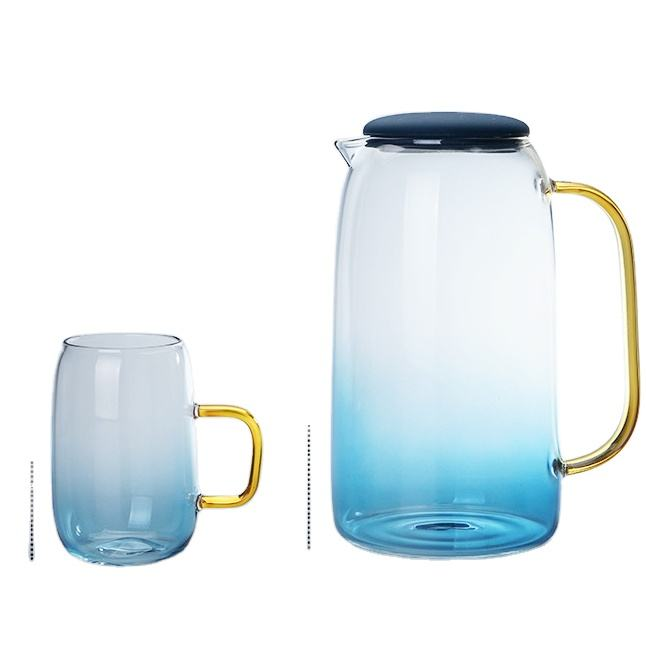 New hot sale large blue - bottomed glass lemon jug set A pot of four cups