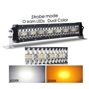 E Mark SAE IP68 260W Super Bright 12D Barra Led Dual Color Strobe Amber 24V 12V 30