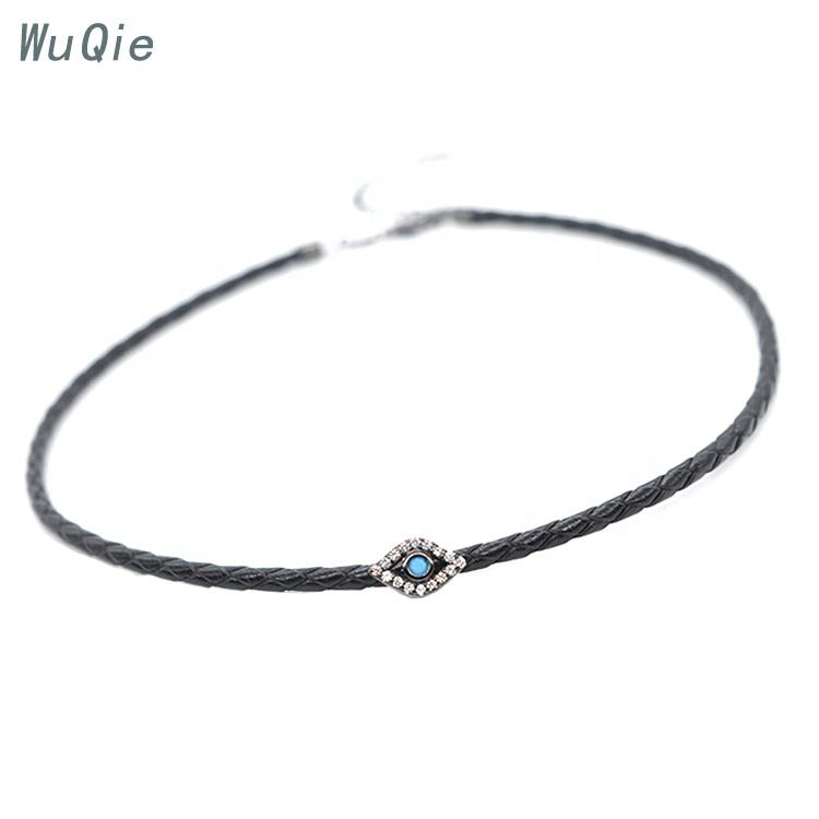Wuqie Hot Sale Leather Devil Eye Choker Fashion Necklace New Designs Jewelry Pendant Choker
