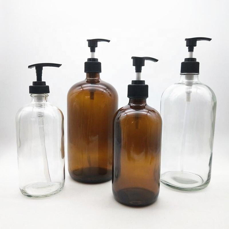 250ml 500ml 1000ml transparent amber boston glass essential oil shampoo body lotion pump bottle