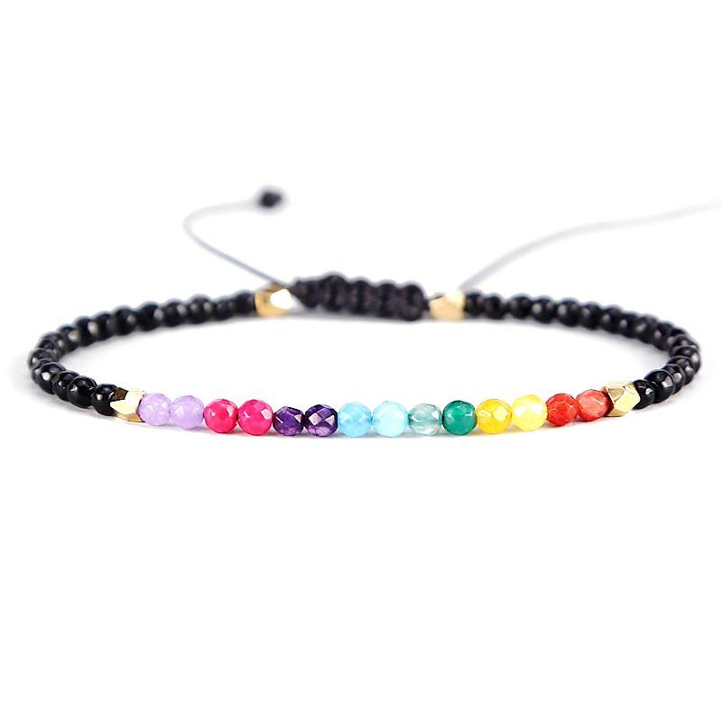 Hot Crystal Lucky Stone Beads Simple Bracelet 3mm Beads Adjustable Bracelet Bohemia Unisex Women Chakra Bracelets