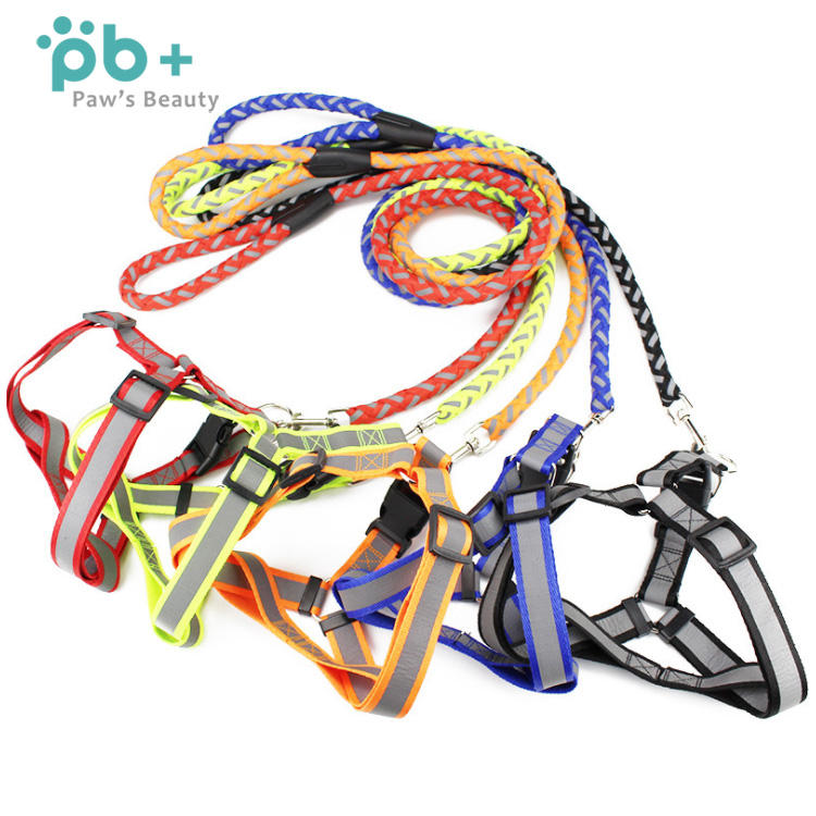 hot sale braided nylon pull harness dog cat pet bungee leash rope
