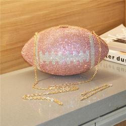 2021 new arrivals Crystal Clutch Soccer Shaped Diamond bling