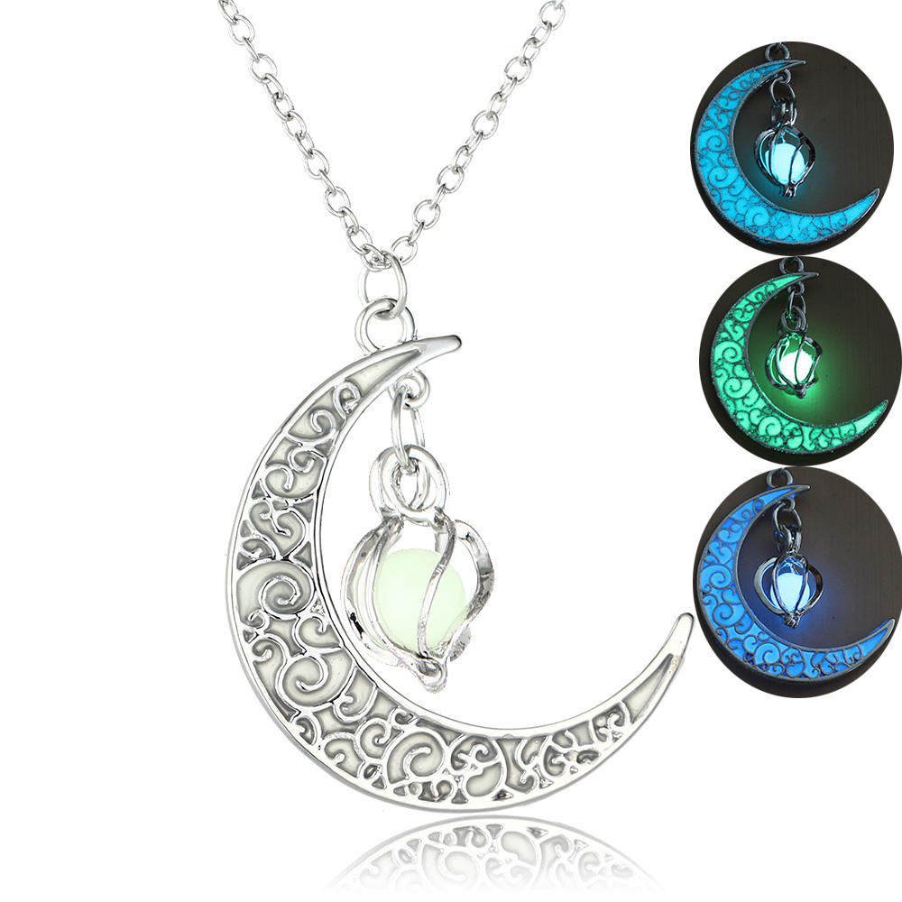 2020 Silver Plated Hollow Glow In Dark Stone Pendant Necklace Moon Glow Necklace Gem Charm Jewelry Women Halloween Gifts