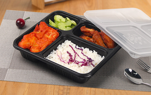 Eco-friendly disposable leak proof meal pp bento microwave take away food container 4 compartment lunch box