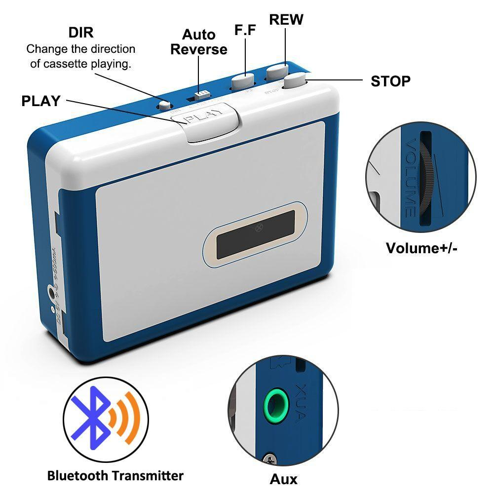 Portable Cassette player with bluetooth transmitter walkman player ezcap215