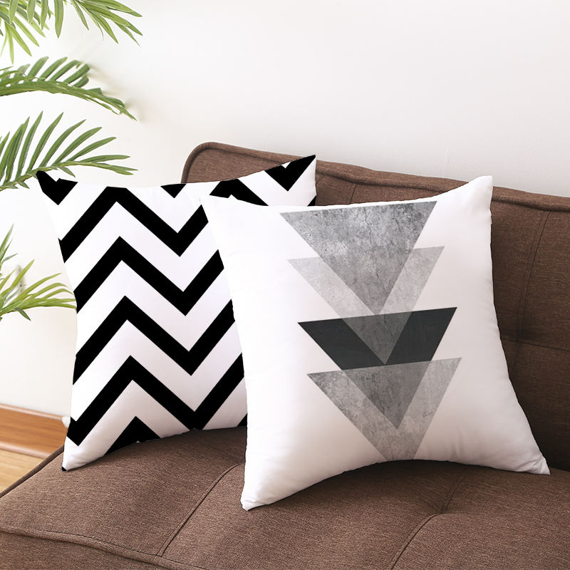 Black and white crown printed pillow cover throw pillow case cushion cover with zipper