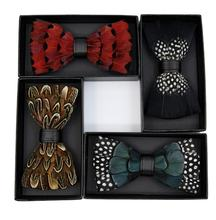 2020  Novelty Weeding Feather Bow Tie Natural Material Handmade Bowtie with Gift BOX Neckwear